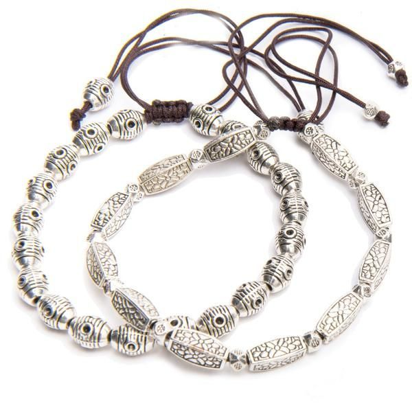 Interesting enough to hold their own in any stack of bracelets you care to put together, yet subtle enough to work with workwear, these adjustable silver bracelets are a must-have for your jewelry collection. Material: Tibetan silver. Item fit/Dimensions: Adjustable. Lead time: 3 - 4 days.