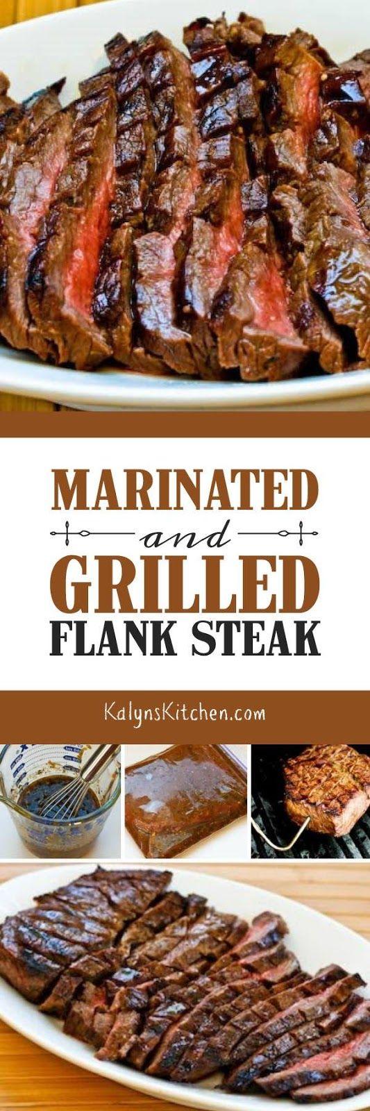 Marinated and Grilled Flank Steak Recipe found on KalynsKitchen.com
