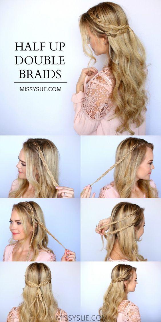 half-up double braid #halfup #braid #double #hair #lovehair #easy #amazing