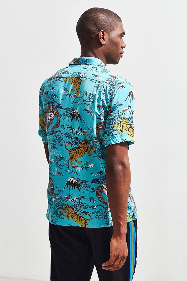 9dc8996a0 Slide View: 4: UO Dragon Rayon Short Sleeve Button-Down Shirt