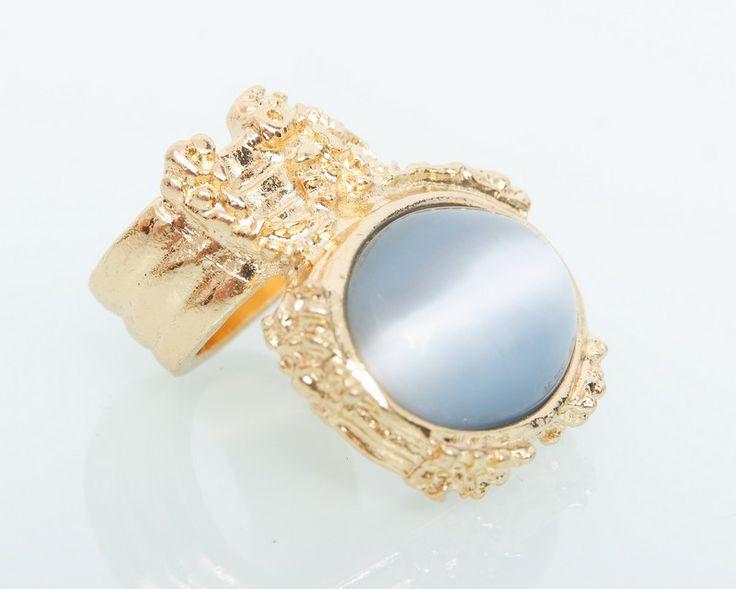 Кольцо YSL Yves Saint Laurent золото с серым камнем кошачий глаз #19152