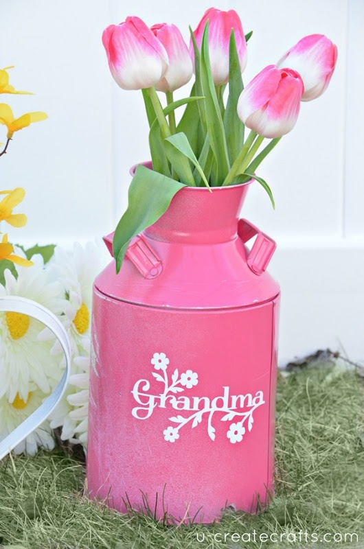 "Simple DIY Mother's Day Vase gift idea! u-createcrafts.com - version for ""Mom"", too!"