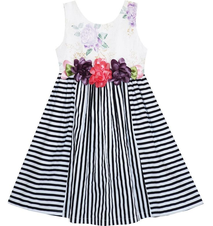 Flower Girl Dress Sleeveless Stripes Floral Printed Flower Waist Size 4-12 Party…