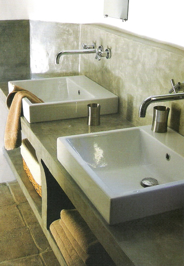 contemporary basins on stone plaster vanity, Côté Sud Avril-Mai 2008 as seen on linenandlavender.net