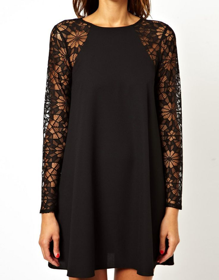 Black Contrast Lace  Chiffon Dress