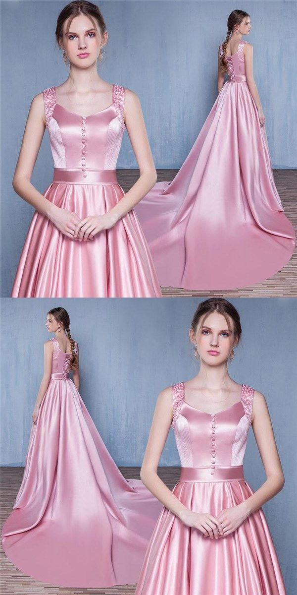 Pink Simple Satin Lace up back Formal Gorgeous Prom Dresses , Prom Gown, Evening Dresses, PD0304 #newestdress#promdresses#