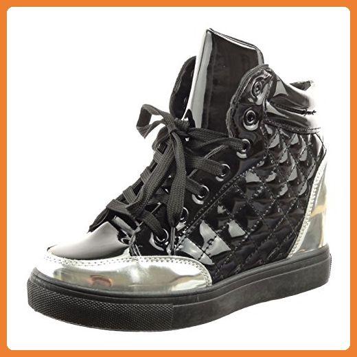 Sopily - damen Mode Schuhe Hohe gesteppt schuhe glänzende Patent - Schwarz WLD-12-AN-20 T 40 - Sneakers für frauen (*Partner-Link)