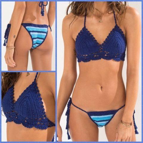 Os biquínis em crochê estão muito em voga. São uma opção para quem procura roupa de praia super original. Nos últimos tempos os artigos em croché são procu