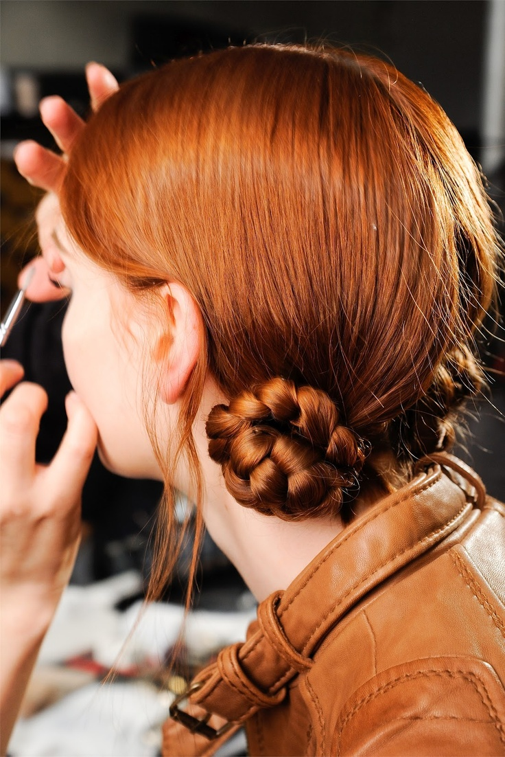 Hair by Guido Palau. Marc Jacobs Collection Fall 2012.: Braided Buns, Hairstyles, Hair Styles, Red Hair, Color, Fall 2012, Marc Jacobs, Beauty