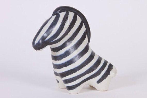 Vintage Zebra Pottery Finland 60's Signed Taisto Kaasinen for Arabia. on Etsy, $145.00