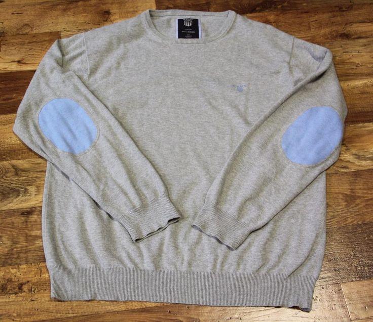 Men's GANT Crew Neck Patch Elbow Pullover Cardigan 100% Cotton Size XL Grey  #GANT #OtherCardigans