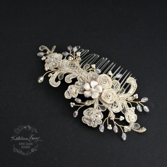 Lace hairpiece vintage bridal wedding hair comb with gold and
