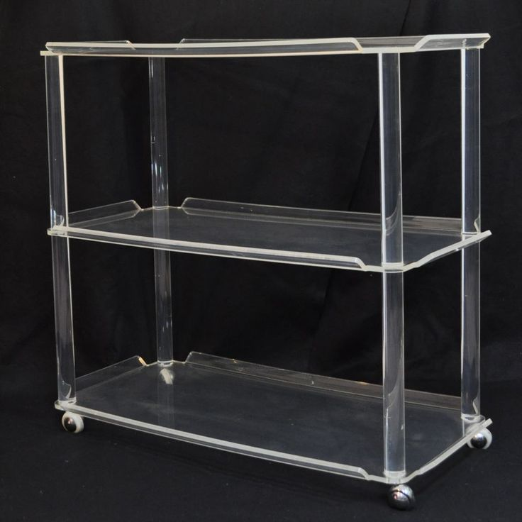 s display shelf bookcase cart bar etagere case modern clear thick bedroom lucite bookcases rolling p acrylic