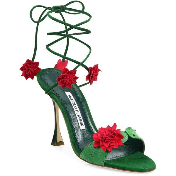 Manolo Blahnik Xacactus Suede Ankle-Wrap Sandals ($662) ❤ liked on Polyvore featuring shoes, sandals, heels, floral heeled shoes, suede shoes, ankle strap heel sandals, wrap sandals and wrap around sandals