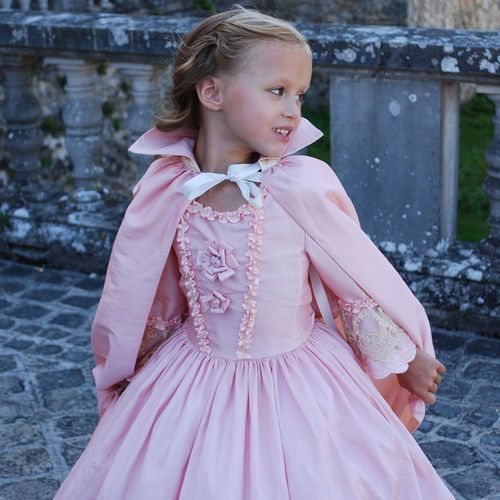 Robe de princesse rose poudrée, robe de princesse fille, robe de princesse Mademoiselle P - desMerveilles.com