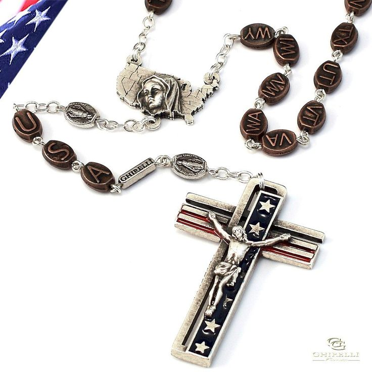 Stop and take a look all you American Catholic Patriots! One nation under God! Pretty cool! The USA Rosary in Antique Silver - Ghirelli Rosaries - Rosary Beads For Sale