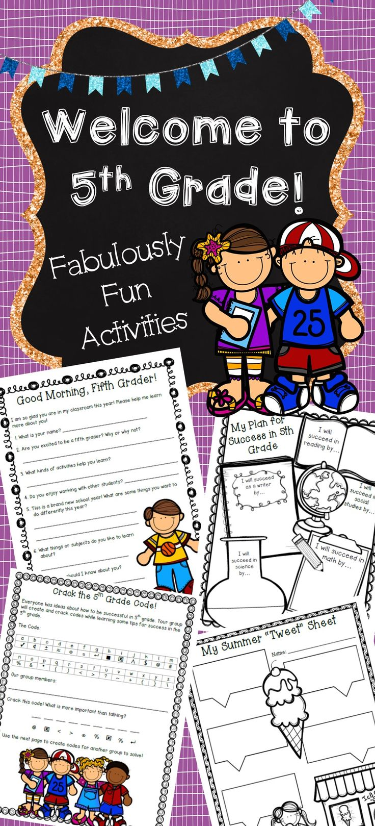 Are you looking for exciting activities to use while getting to know your new fifth graders? This packet contains individual, partner, small group, and whole-class activities. Help your students get to know you and their new classmates with the engaging activities in this packet.