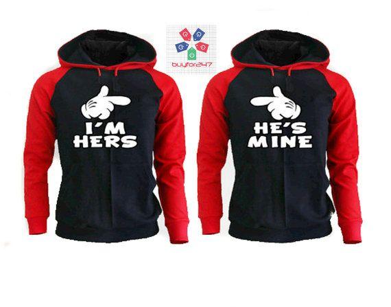 I'm Hers He's Mine Couple Raglan Hoodies Matching by buyfor247