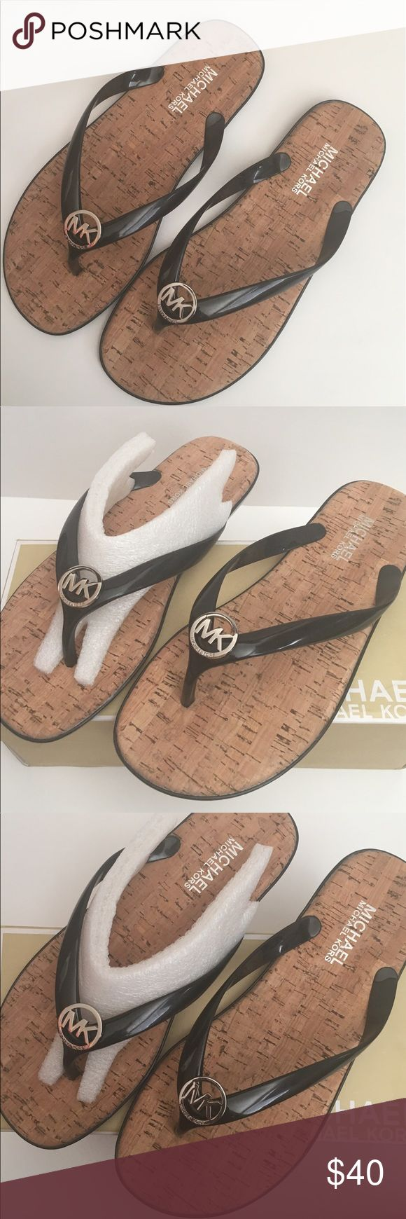 Black mk sandals - Michael Kors Sandals Michael Kors Sandals In Black With Silver Mk Logo New Never