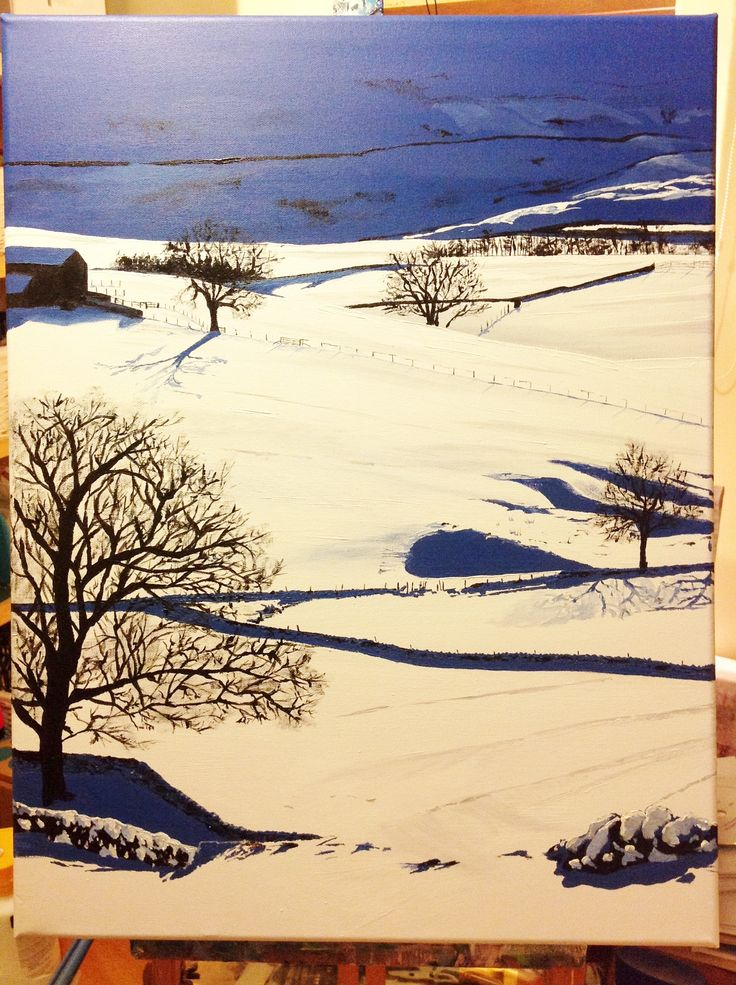 Acrylic painting of a snowy Yorkshire Dales.  www.katiestewartart.co.uk