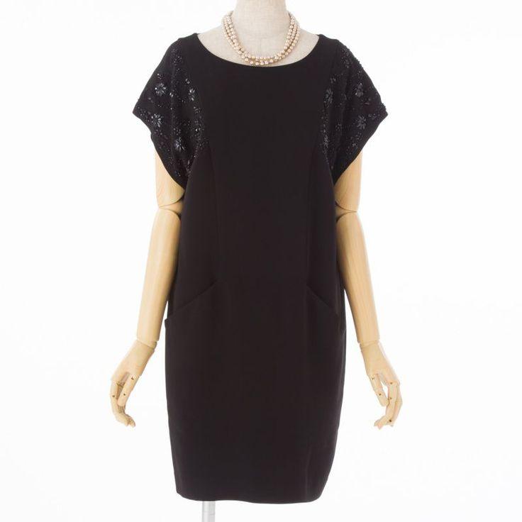 GRACE CONTINENTAL グレースコンチネンタル ビジュースリーブドレス ブラック/F|結婚式パーティーのレンタルドレス・アイテムはCariru