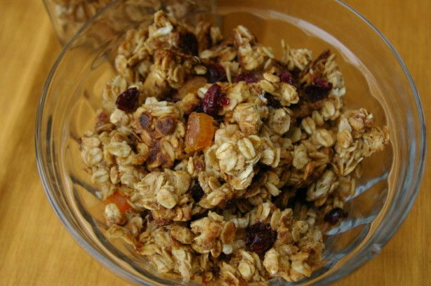 From Rose Reisman. If you prefer to have dried fruit that is baked, add it to the granola mixture before it goes into the oven. It makes the fruit much chewier. If you want the granola crisper, leave it in the oven with the heat off for another two hours. Feel free to substitute any dried fruit of your choice.