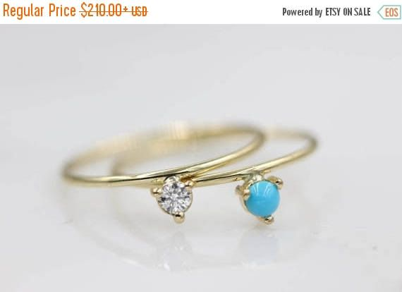 MOTHERSDAYSALE 14k solid gold ring Turquoise ring diamond ring Stacking ring Engagement ring Solitaire ring Diamond ring 1/10 carat diamond