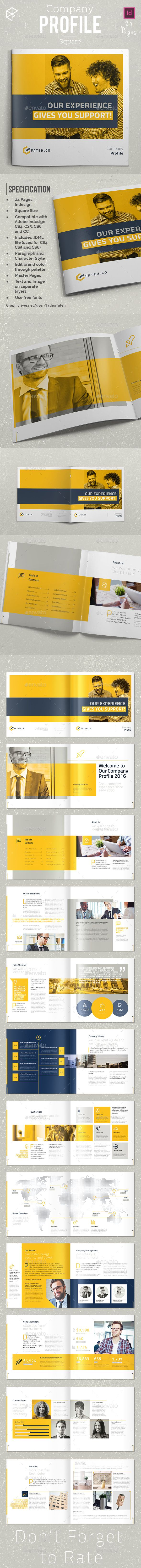 Square Company Profile Brochure Template InDesign INDD
