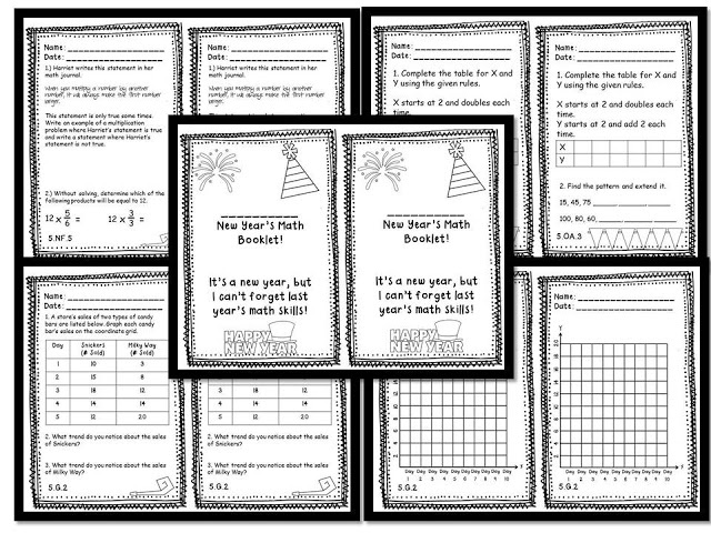 New Year's Mini Book to Review all the Math Common Core Math Standards. Available for 4th and 5th Grade!