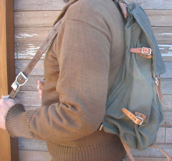 Vintage Military Leather and Canvas Swedish Army Rucksack M39 w External Metal Frame on Etsy, $46.95