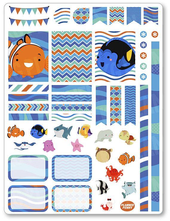 Amigos de pescado decoración Kit / extensión semanal planificador pegatinas para…
