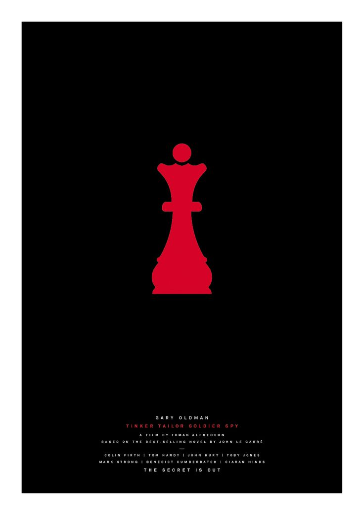 Cold War dread permeates this poster, and when George Smiley ferrets out the spy within MI6 he uses chess pieces to represent the suspects.