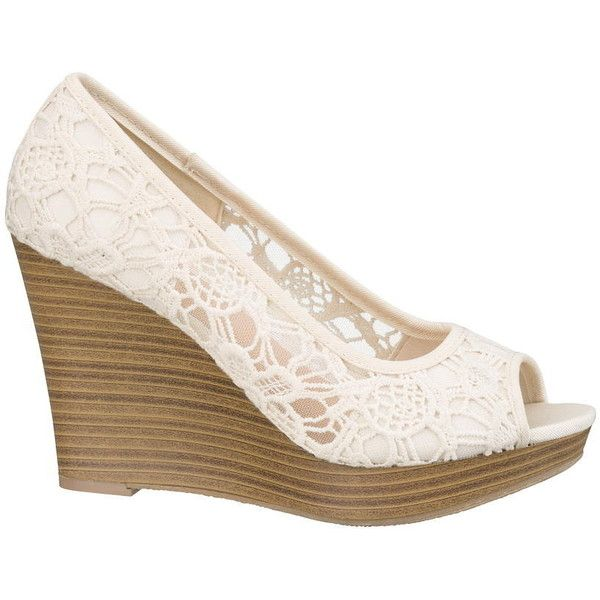Silver Jeans Mindy Crochet Wedge ($34) ❤ liked on Polyvore featuring shoes, sandals, wedges, beige, wedges shoes, platform shoes, beige wedge sandals, wedge heel sandals and silver wedge shoes