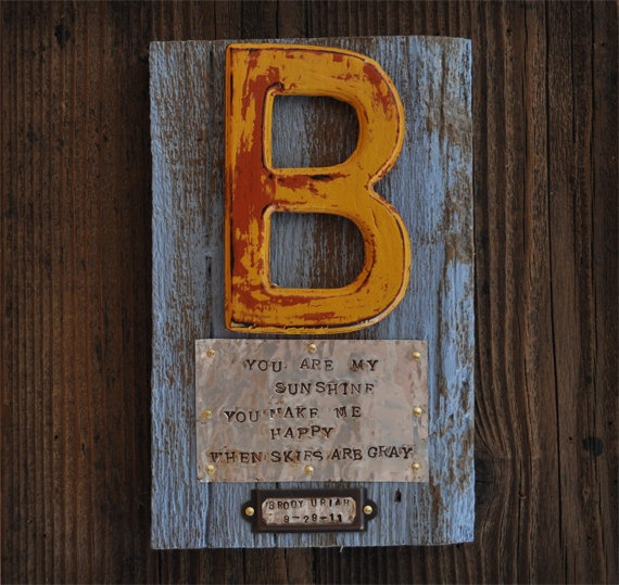 Personalized custom baby gift in Rustic reclaimed wood with name and birthdate, nursery wall art. $45.00, via Etsy.