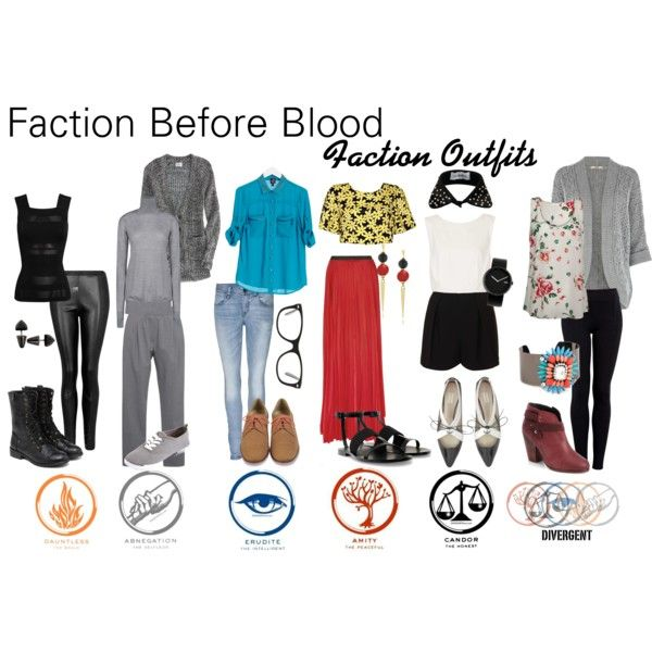 Faction Before Blood by izzyf on Polyvore~ Divergent Faction Outfits. Im wearing erudite tomorrow my outfit actually is like almost the same exact thing :)