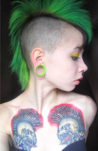 Green Mohawk punk girl exploited tattoos