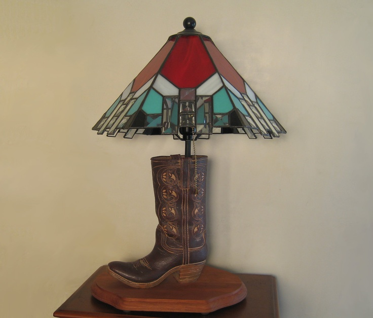 The 25 best southwestern lamp bases ideas on pinterest stained glass table lamp with cowboy boot base red and turquoise with glass bevels southwestern style wood base aloadofball Images