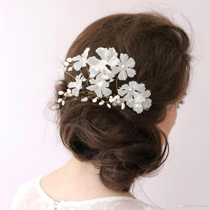 Flores Hechas A Mano Accesorios Nupciales Del Pelo Con Rebordear Perlas Nuevas Mujeres Tiaras De La Boda