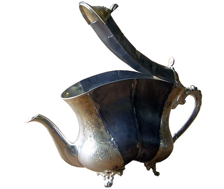 David Clarke ( ), British / modified footed silver teapot .... pieces of traditional teapots recombined in new form, c. 2011, UK