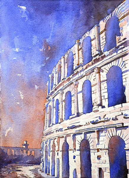 Watercolor painting of the exterior of the Roman Coliseum at El-Jem (El-Djem) in the North African nation of Tunisia by RFoxWatercolors on Etsy