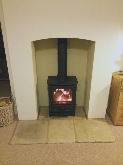 Log burner hearth example