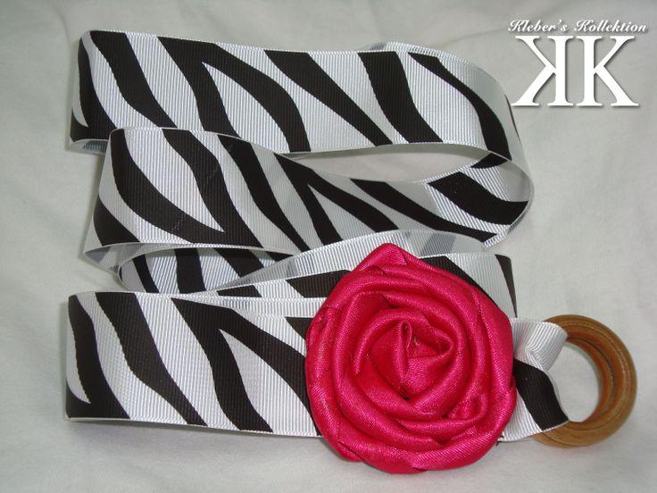 animal print (zebra) and fucsia flower #belt