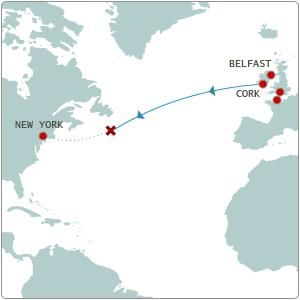 Titanics Route on the Atlantic Ocean in 1912