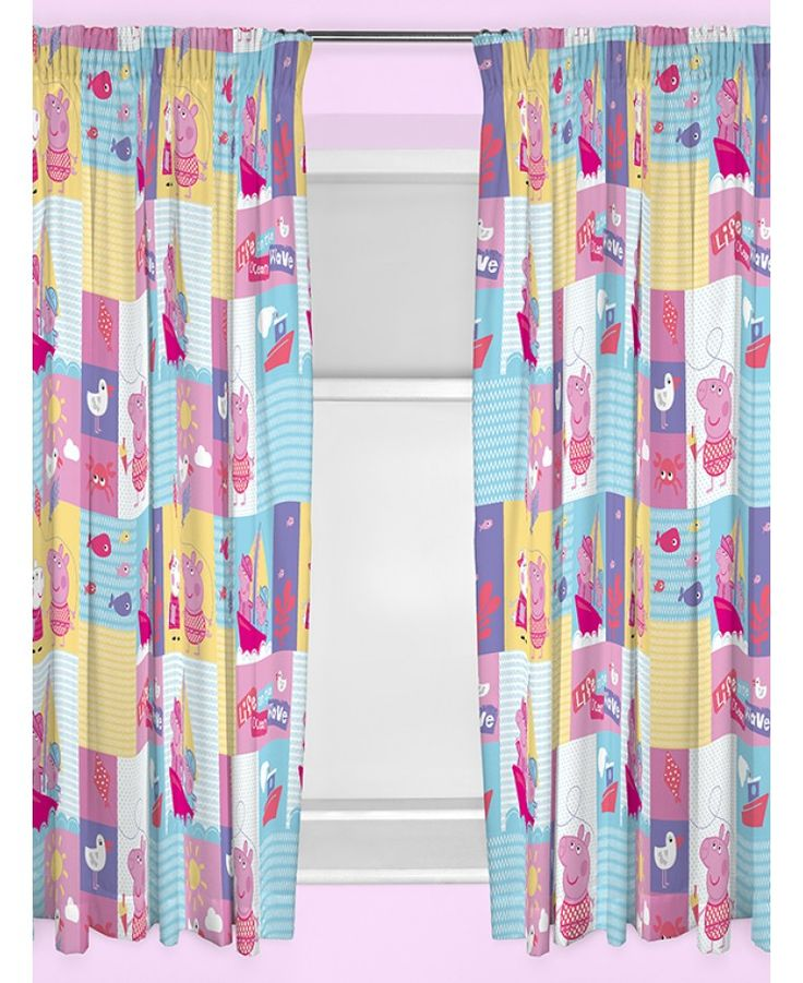 These Peppa Pig Nautical curtains make the perfect addition to any Peppa themed bedroom. The design features a patchwork style collage of seaside themed images in pink, yellow and blue featuring Peppa, George and Suzy Sheep. Each curtain has a pencil pleat fitting making them easy to attach to any curtain rail or pole.