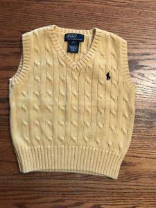 Polo, Ralph Lauren Toddler Boys Size 2T Yellow Sweater Vest  | eBay
