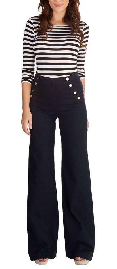 Sailor Pants also known as bell bottoms are roomy and comfortable. On the front they have a flap with buttons.  Category: Moderate