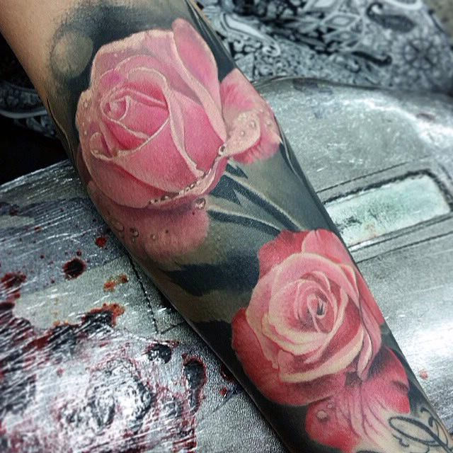 Realistic Pink Rose tattoo
