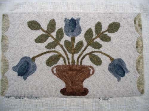 3 Blue Tulips rug hooking pattern -Pioneer Primitives
