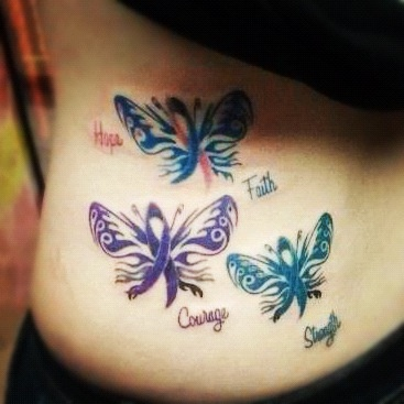 Awareness ribbon butterfly tattoo Ovarian cancer(teal) SIDS awareness(blue/pink) Sarcoidosis awareness(purple)