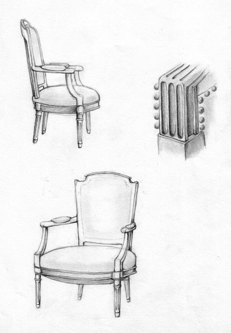 Les 25 meilleures id es de la cat gorie croquis au crayon for Chaise dessin